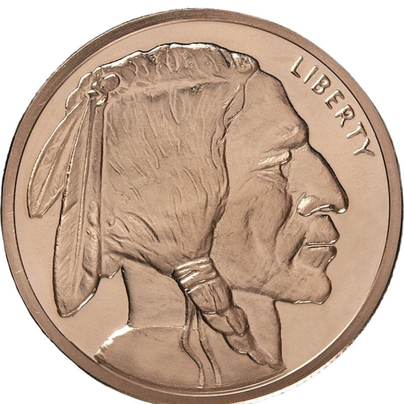 Buffalo Design 5 oz .999 Pure Copper Round