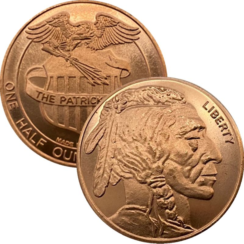 Buffalo Nickel 1/2 oz .999 Pure Copper Round By Patrick Mint