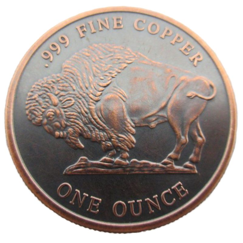 Buffalo Nickel 1 oz .999 Pure Copper Round (Black Patina)