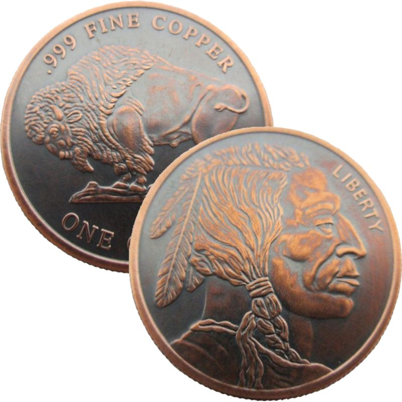 Buffalo Nickel - Design #2 (Private Mint) 1 oz .999 Pure Copper Round (Black Patina)