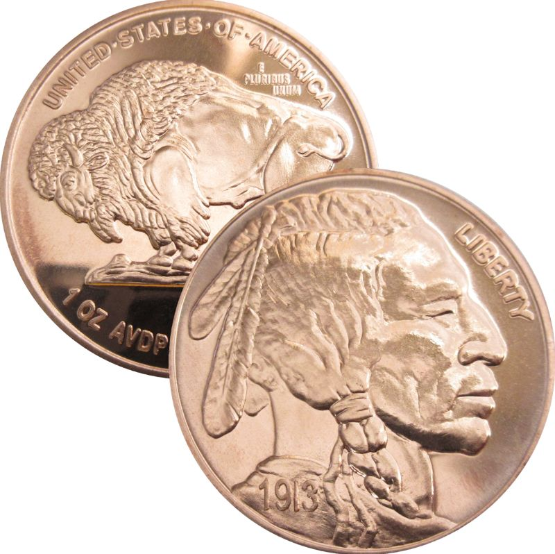 Buffalo Nickel 1913 Design (Private Mint) 1oz .999 1 oz .999 Pure Copper Round
