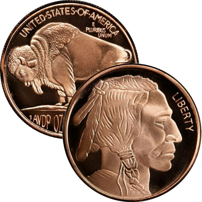 Buffalo Nickel - Design #3 (Private Mint) 1 oz .999 Pure Copper Round