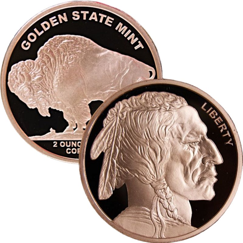 Buffalo Design 2 oz .999 Pure Copper Round