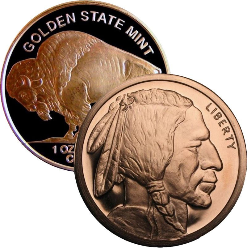 Buffalo Nickel Design (Golden State Mint) 1 oz .999 Pure Copper Round