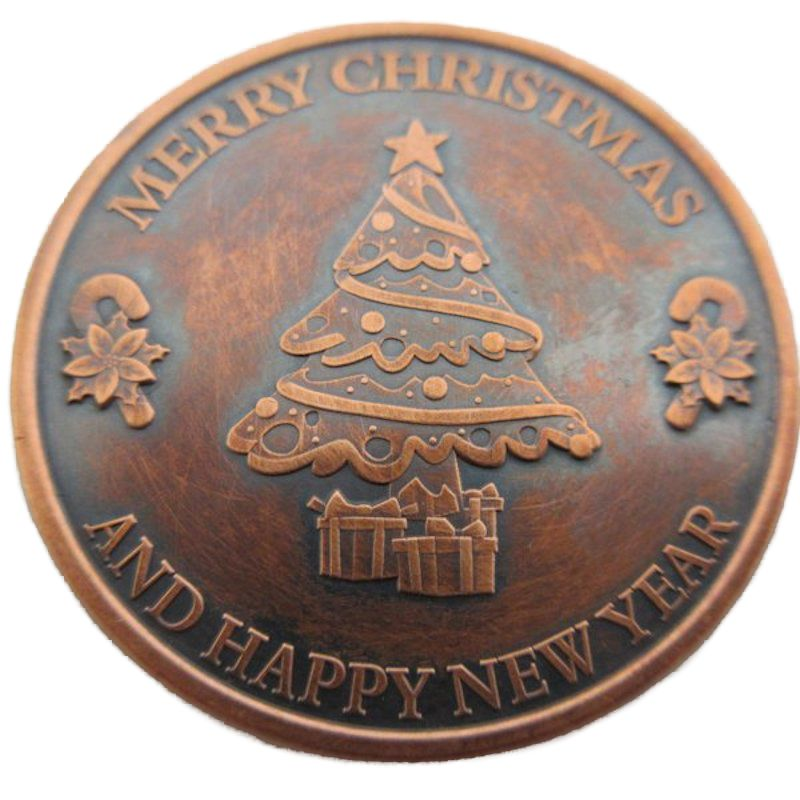 Christmas Tree (Snowflake Back Design Series) 1 oz .999 Pure Copper Round (Black Patina)