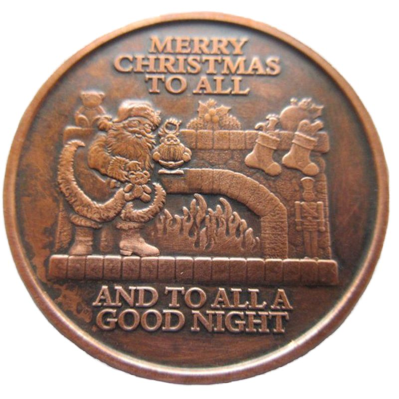 Merry Christmas To All (Snowflake Back Design Series) 1 oz .999 Pure Copper Round (Black Patina)