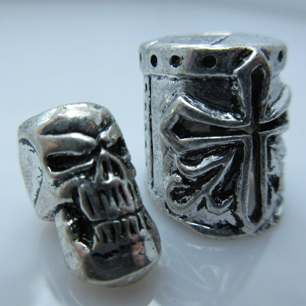 Crusader Helmet & Skull Silver/Silver By Bad Azz Beads