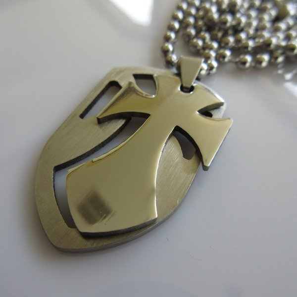 Chopper Cross Shield Necklace ~ Stainless Steel