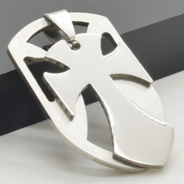 Chopper Cross Shield Pendant ~ Stainless Steel