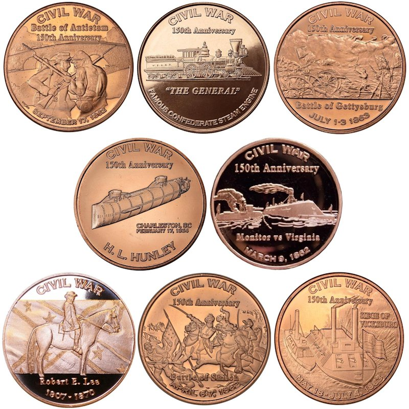 Complete Set of (8) Different Civil War Series 1 oz .999 Pure Copper Rounds