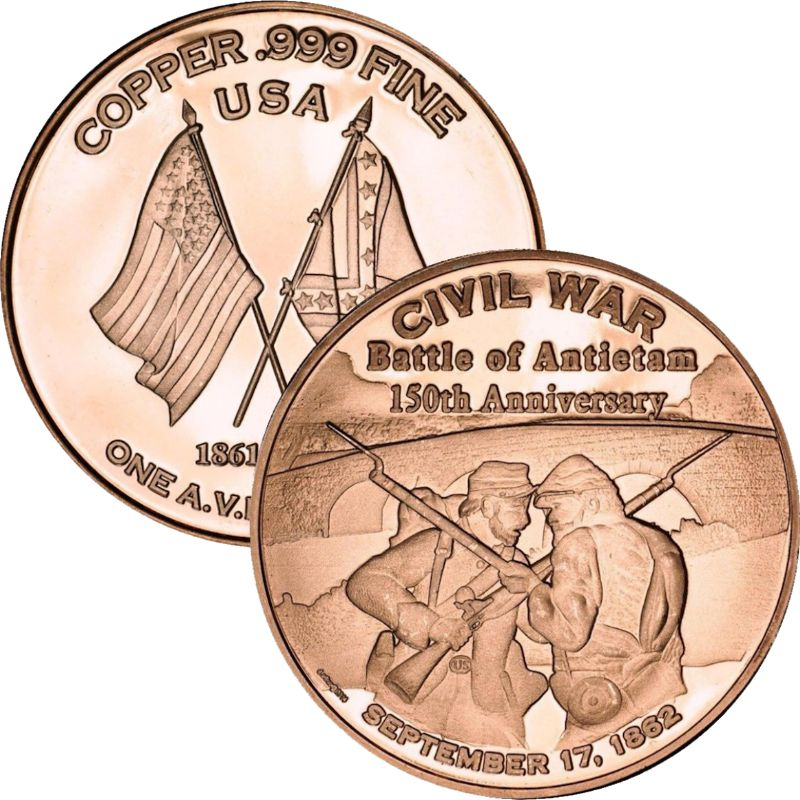 Battle of Antietam ~ Civil War Series 1 oz .999 Pure Copper Round
