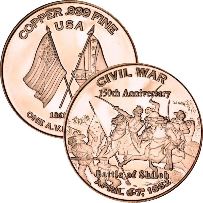 Battle of Shiloh ~ Civil War Series 1 oz .999 Pure Copper Round