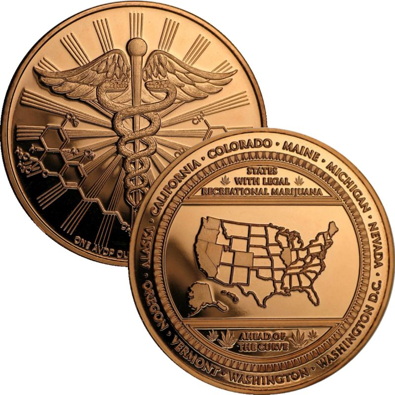 Cannabis (Ahead of The Curve) 1 oz .999 Pure Copper Round