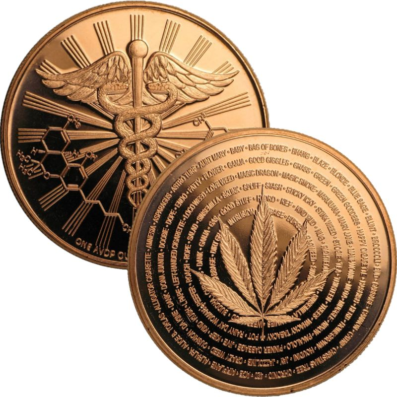 Cannabis (Medicine aka Natures Holiday) 1 oz .999 Pure Copper Round