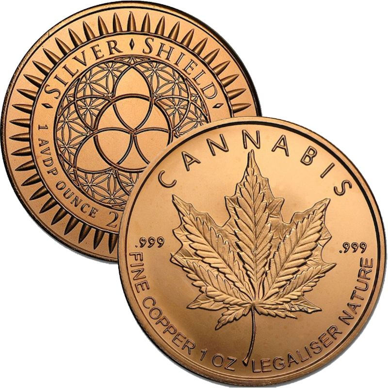 Cannabis 1 oz .999 Pure Copper Round (2017 Silver Shield)
