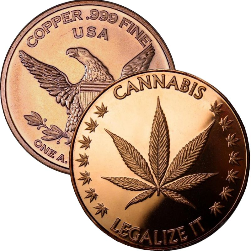 Cannabis - Legalize It 1 oz .999 Pure Copper Round
