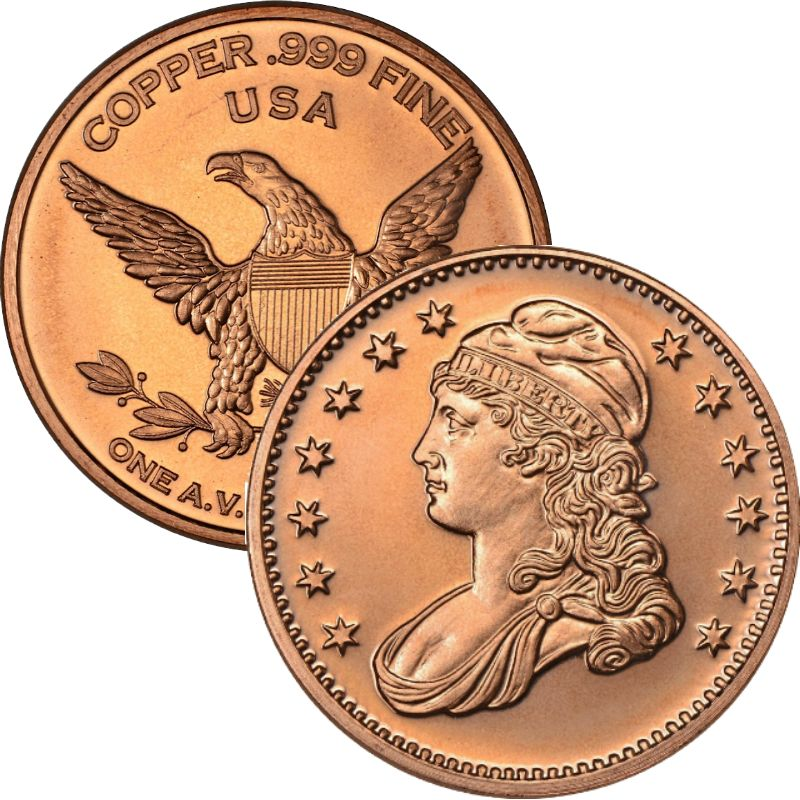 Capped Bust Dollar Design (Private Mint) 1 oz .999 Pure Copper Round
