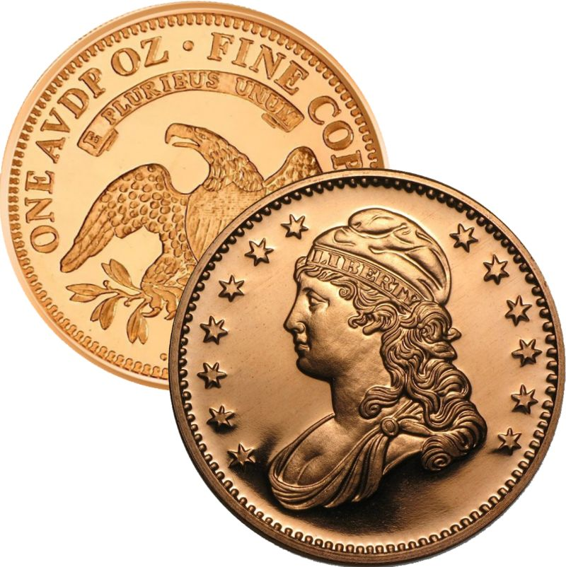 Capped Bust 1 oz .999 Pure Copper Round