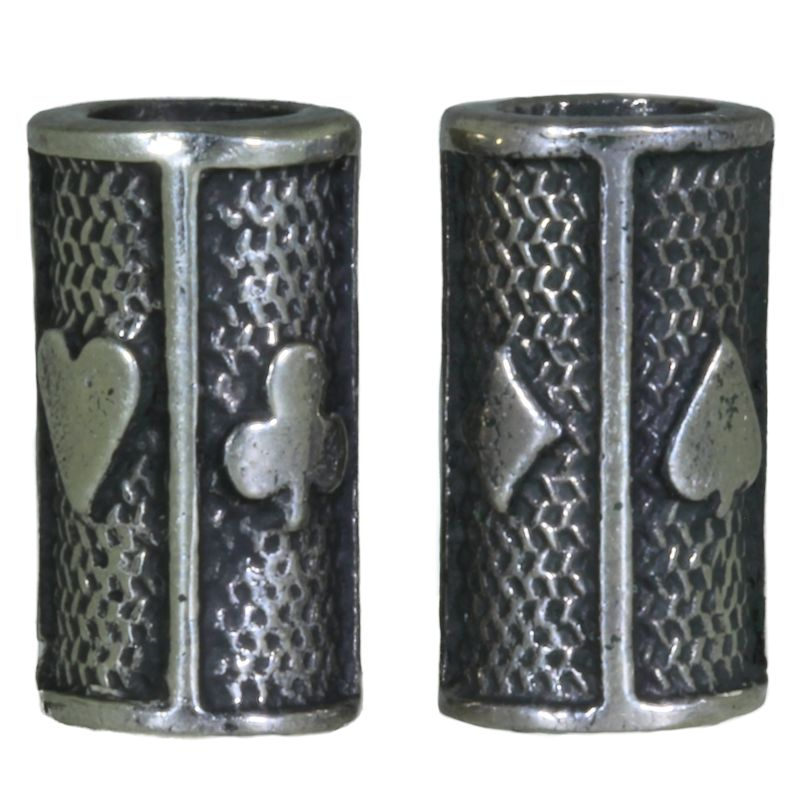 Card Suits Beads (Pair of 2) in Nickel Silver by Russki Designs