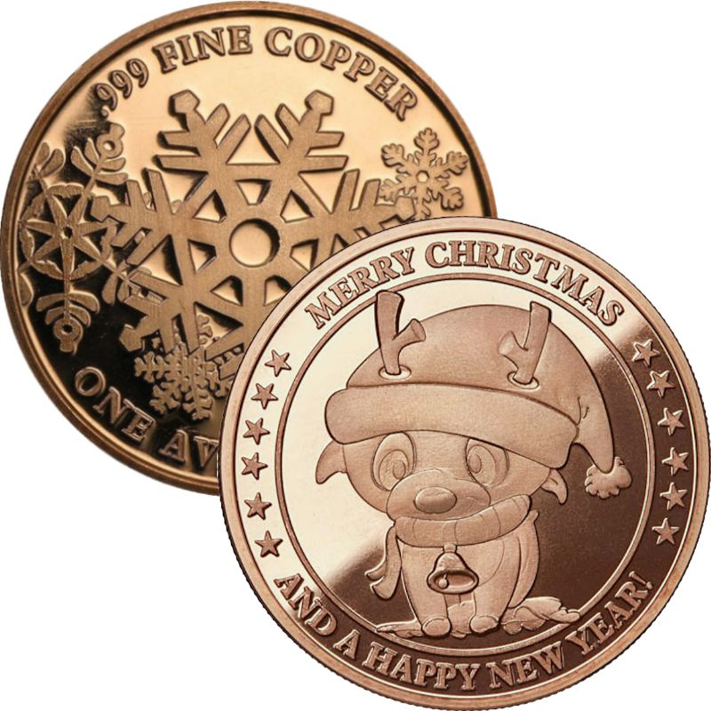Cartoon Rudolph (Snowflake Back Design Series) 1 oz .999 Pure Copper Round