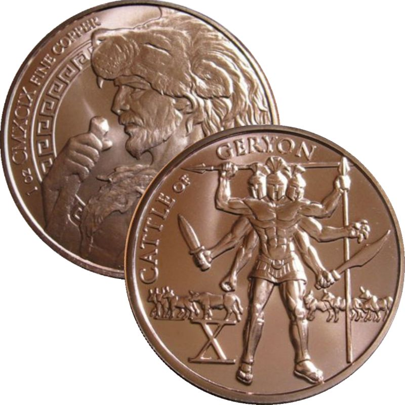 Cattle of Geryon 1 oz .999 Pure Copper Round (10th Design of the 12 Labors of Hercules Series)