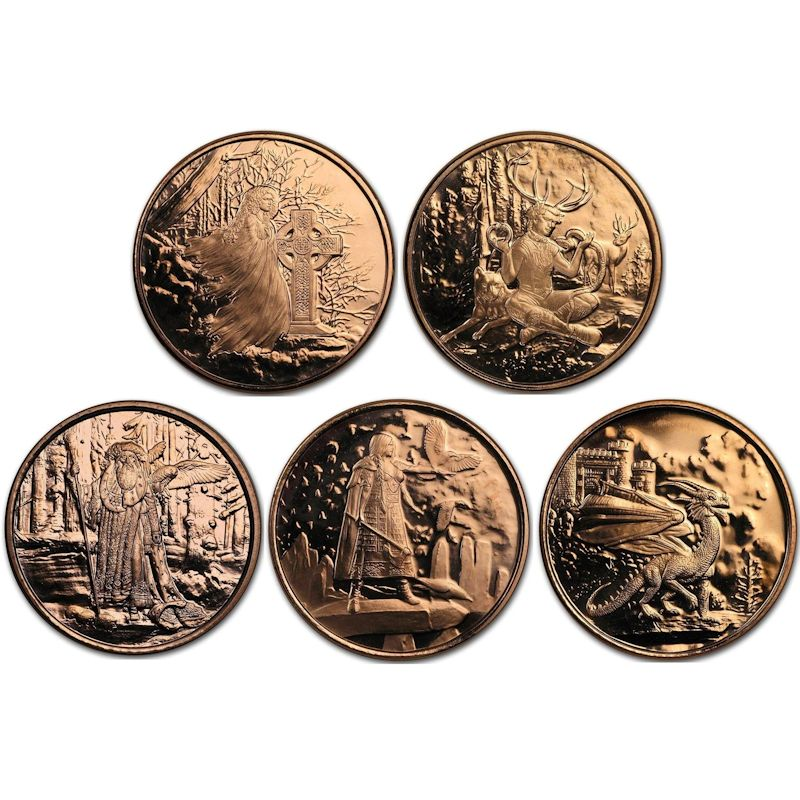 Complete Set of (5) Celtic Lore Series Designs 1 oz .999 Pure Copper Rounds