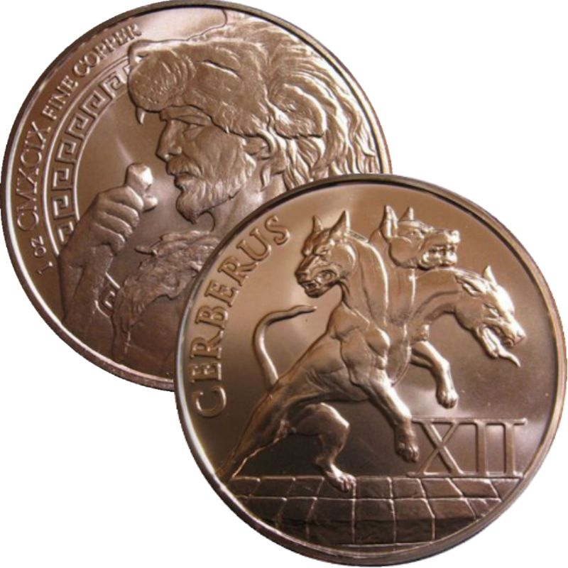 Cerberus 1 oz .999 Pure Copper Round (12th & Final Design of the 12 Labors of Hercules Series)