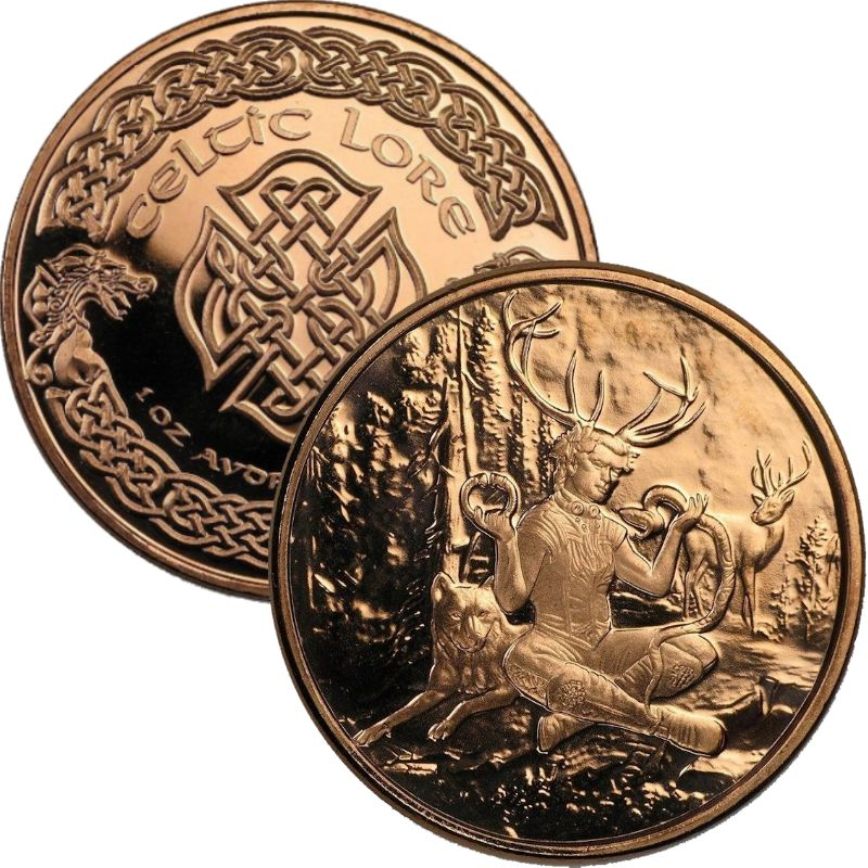 Cernunnos 1 oz .999 Pure Copper Round (4th Design of the Celtic Lore Series)