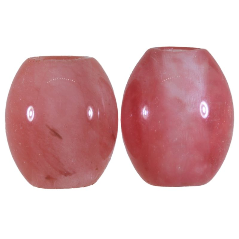 Cherry Quartz Gemstone Beads (Set of 2 Beads)
