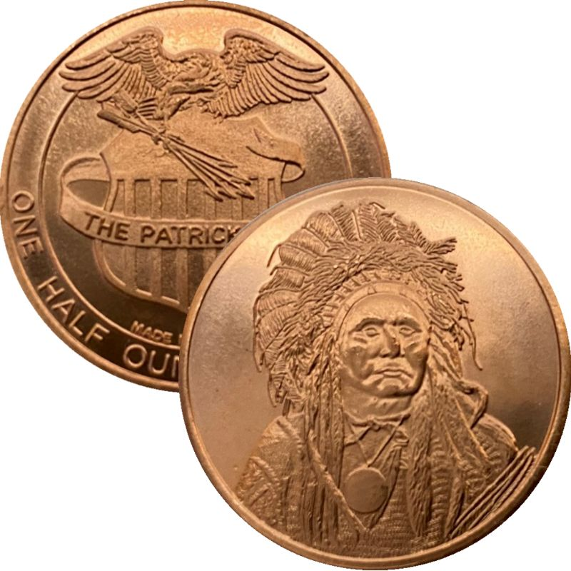 Chief One Papa 1/2 oz .999 Pure Copper Round By Patrick Mint