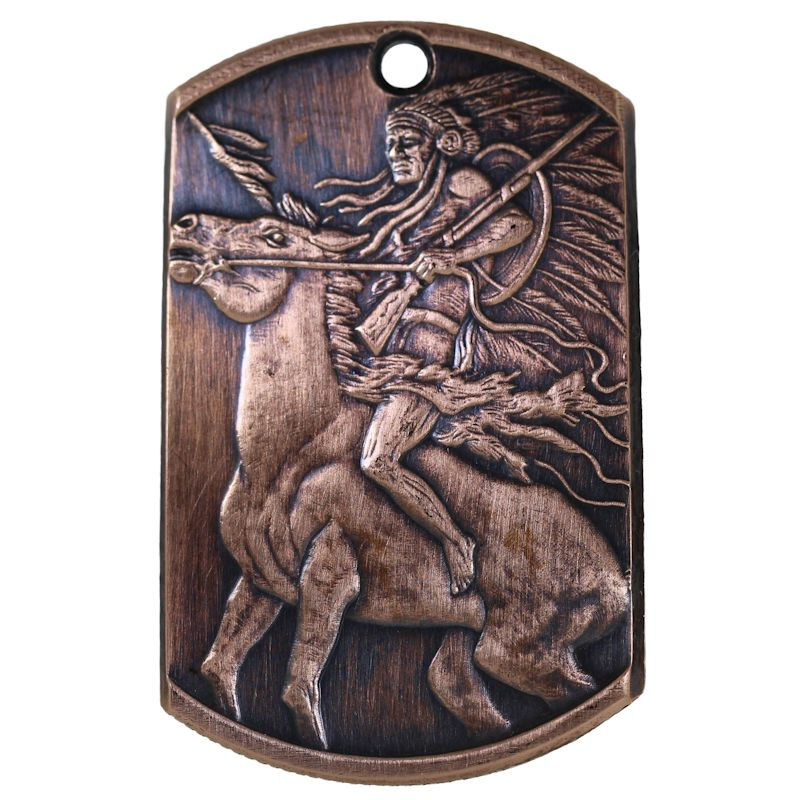Chief Red Horse Copper Dog Tag Necklace