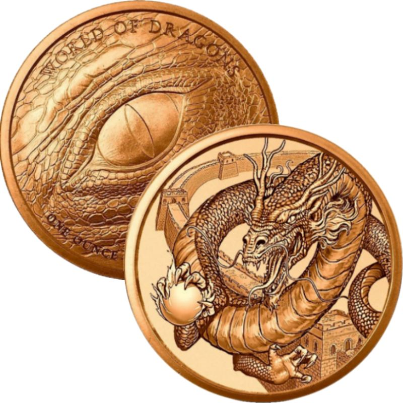 The Chinese Dragon #3 (World Of Dragons Series) 1 oz .999 Pure Copper Round