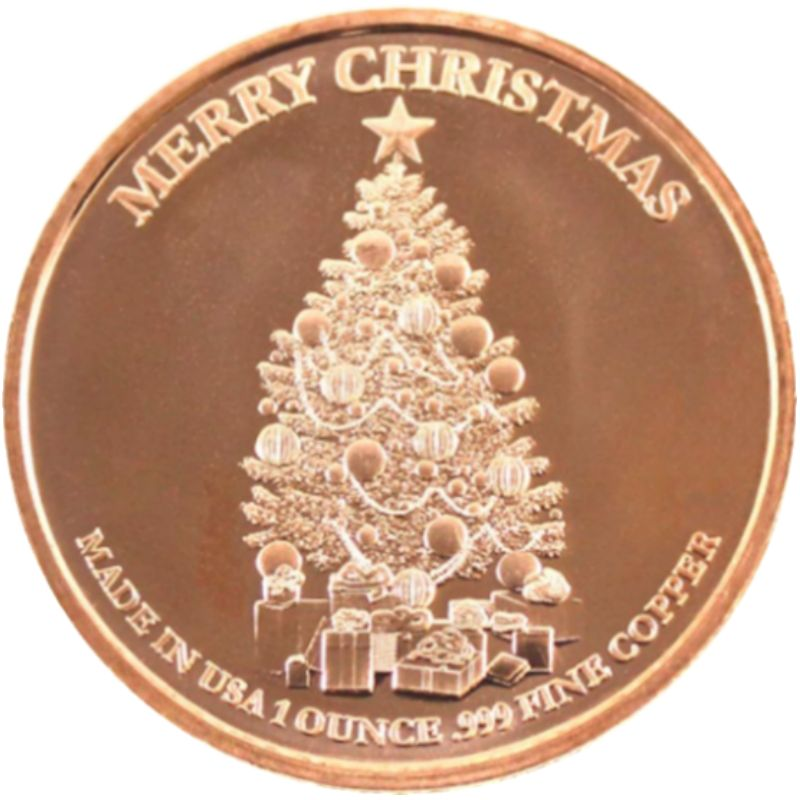 Christmas Angel ~ Merry Christmas (Tree Back Design Series) 1 oz .999 Pure Copper Round