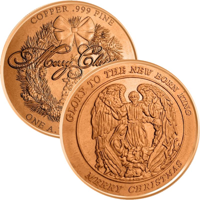 Christmas Angel (Wreath Back Design Series) 1 oz .999 Pure Copper Round
