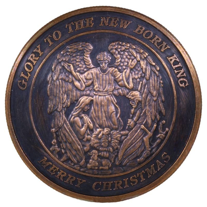 Christmas Angel (Wreath Back Design Series) 1 oz .999 Pure Copper Round (Black Patina)