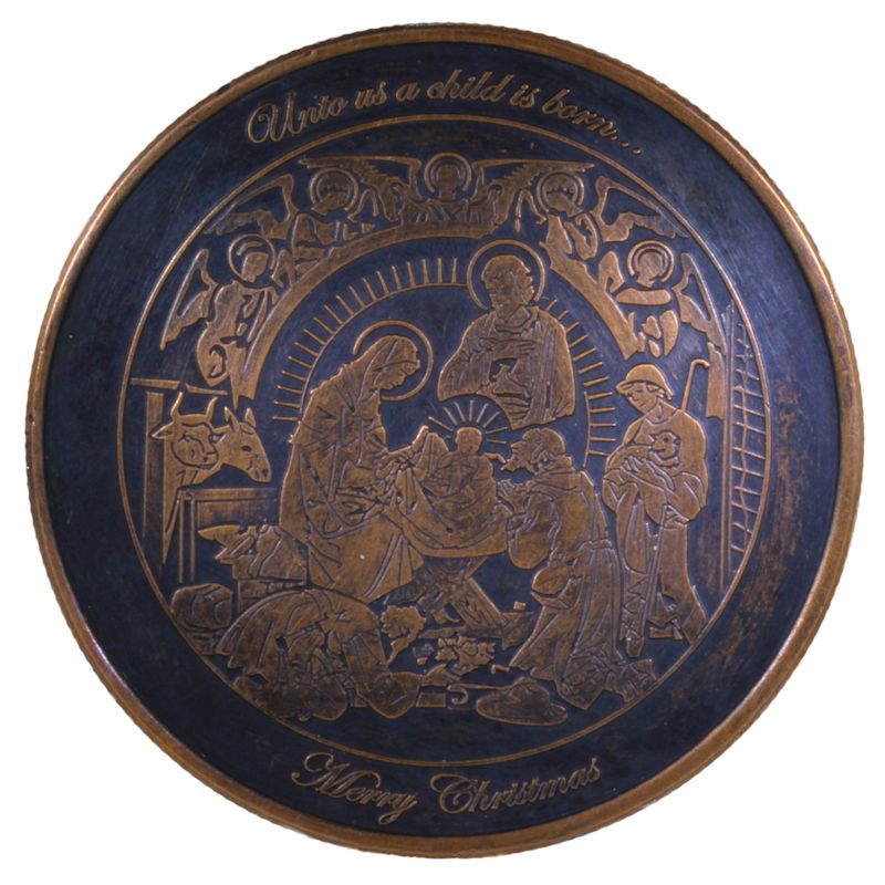 Nativity ~ Unto Us A Child Is Born (Wreath Back Design Series) 1 oz .999 Pure Copper Round (Black Patina)