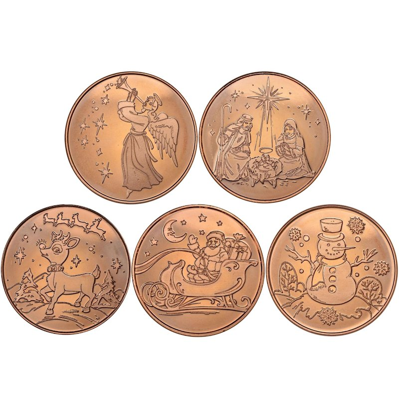 Complete Set of (5) ~ Merry Christmas (Tree Back Design Series) 1 oz .999 Pure Copper Round