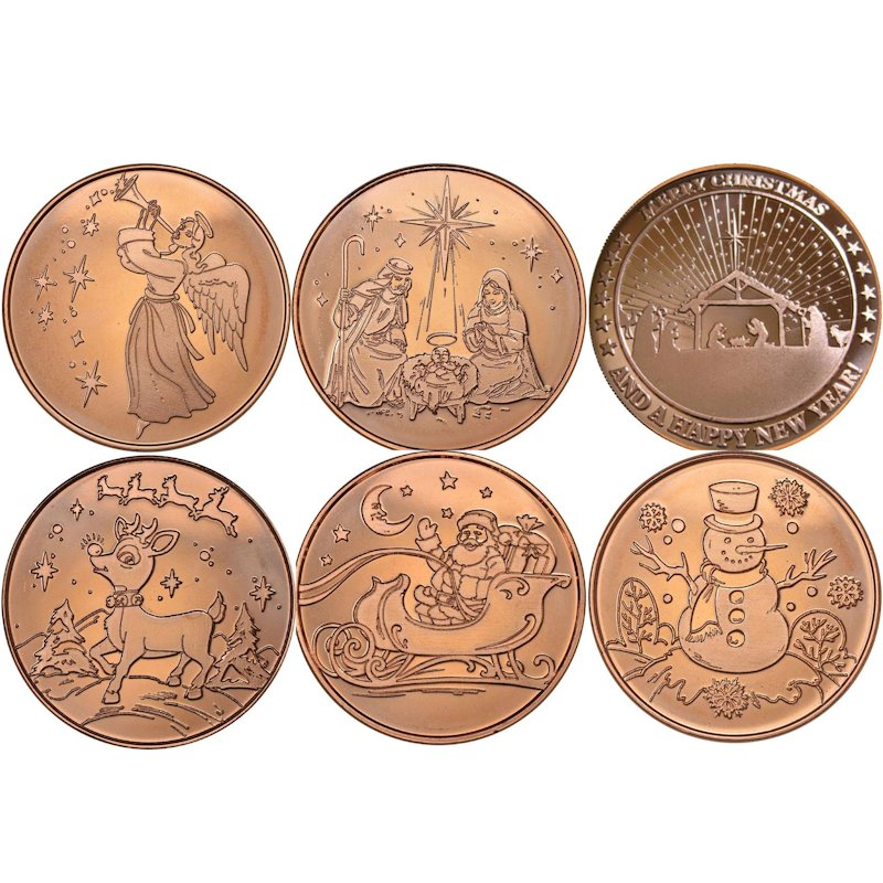 Complete Set of (6) ~ Merry Christmas (Tree Back Design Series) 1 oz .999 Pure Copper Round