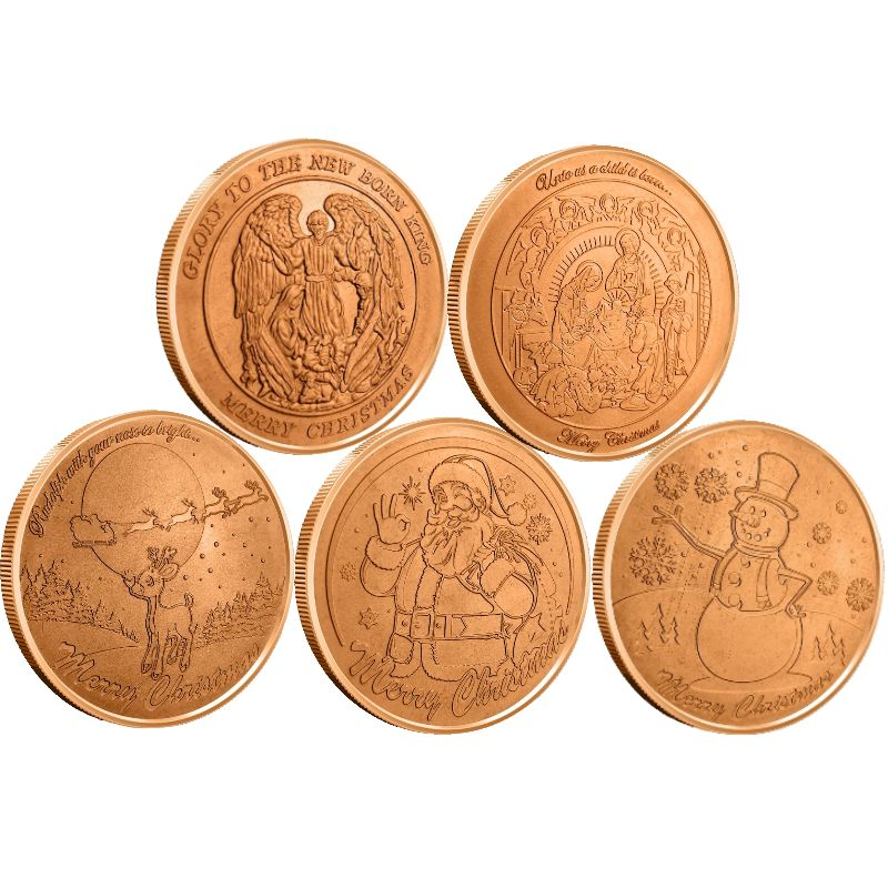 Complete Set of (5) (Wreath Back Design Series) 1 oz .999 Pure Copper Round