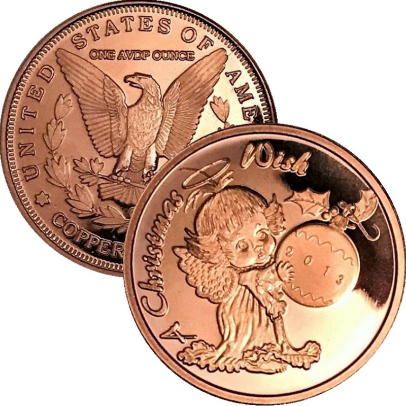 Christmas Wish 2013 (Sunshine Mint) 1 oz .999 Pure Copper Rounds