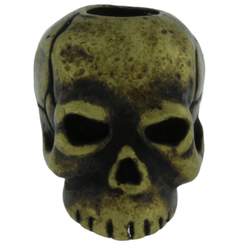 Classic Skull Bead in Roman Brass Oxide Finish by Schmuckatelli Co.