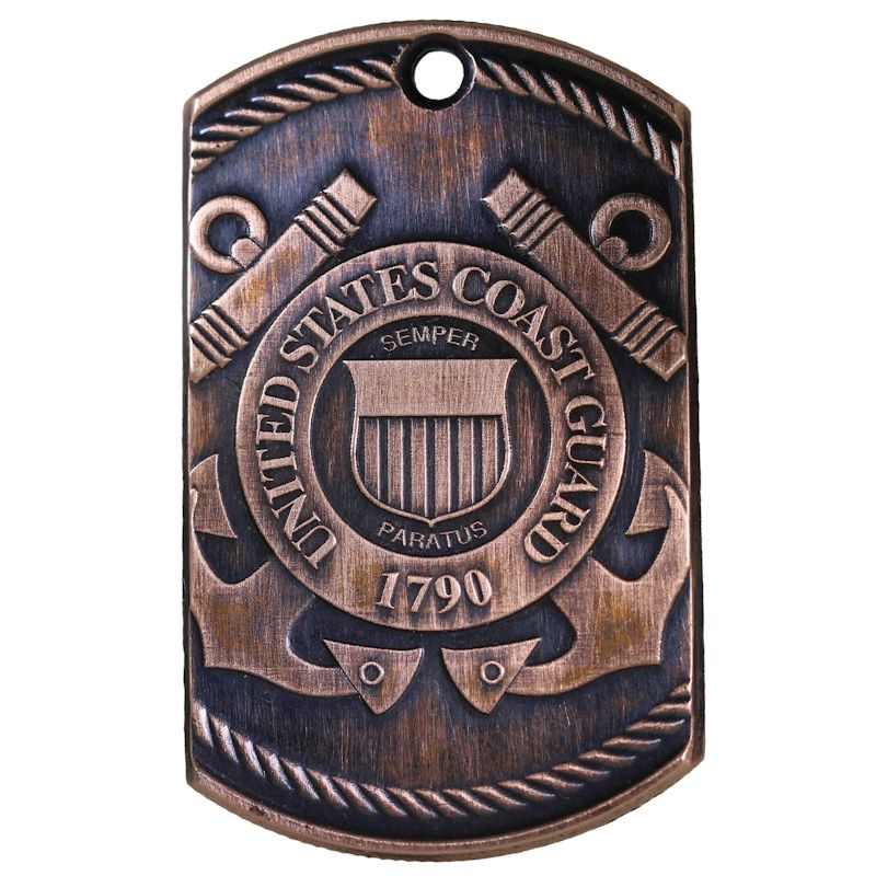 Coast Guard Copper Dog Tag Necklace