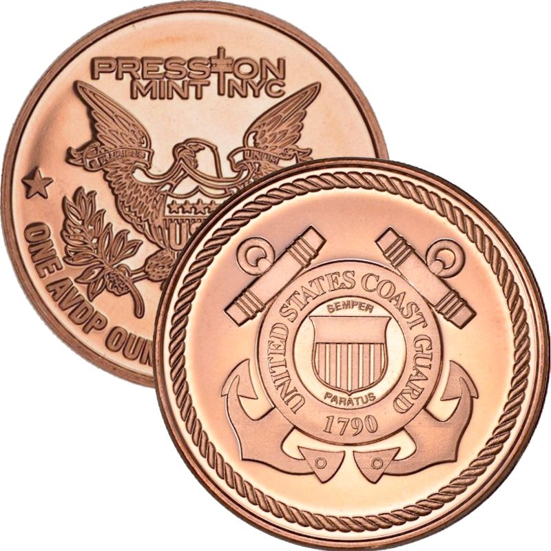 Coast Guard (Presston Mint) 1 oz .999 Pure Copper Round