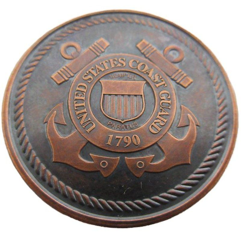 Coast Guard (Private Mint) 1 oz .999 Pure Copper Round (Black Patina)