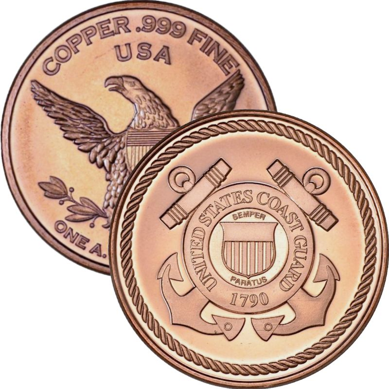 Coast Guard (Private Mint) 1 oz .999 Pure Copper Round