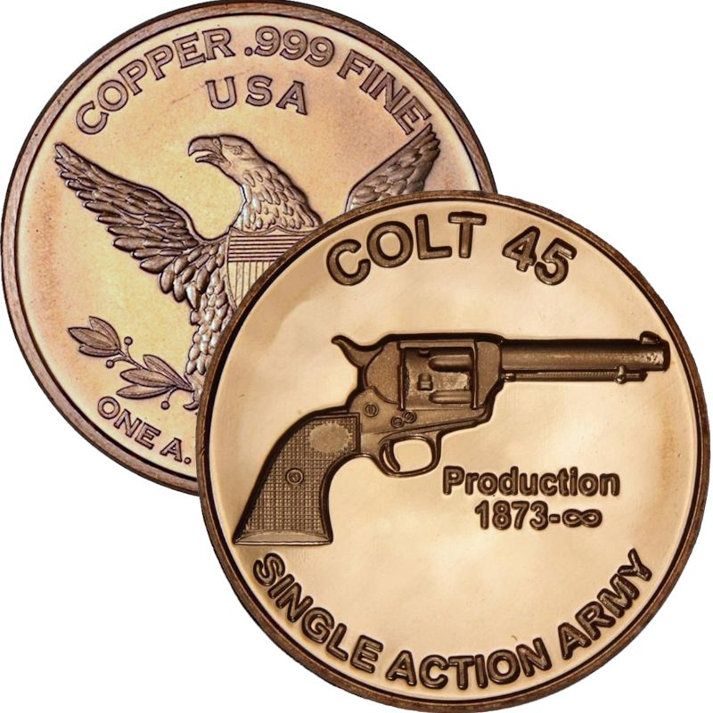 Colt .45 1 oz .999 Pure Copper Round