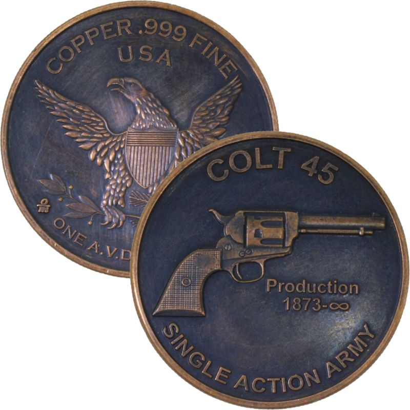 Colt .45 1 oz .999 Pure Copper Round (Black Patina)