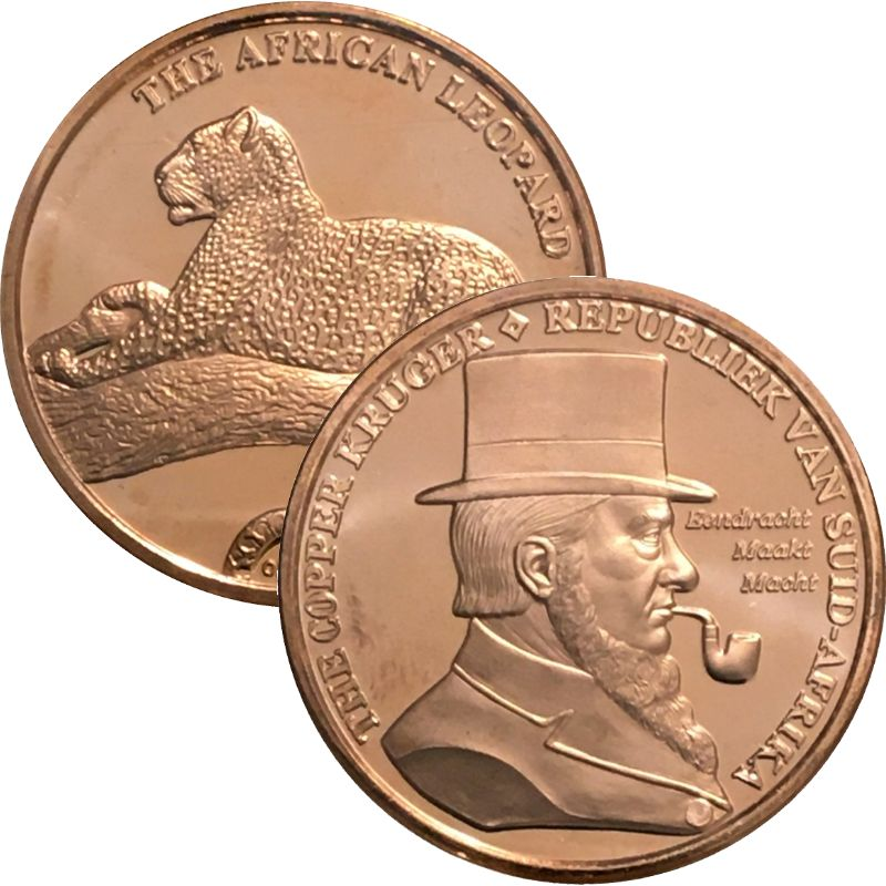 The Copper Kruger / The African Leopard 1 oz .999 Pure Copper Round