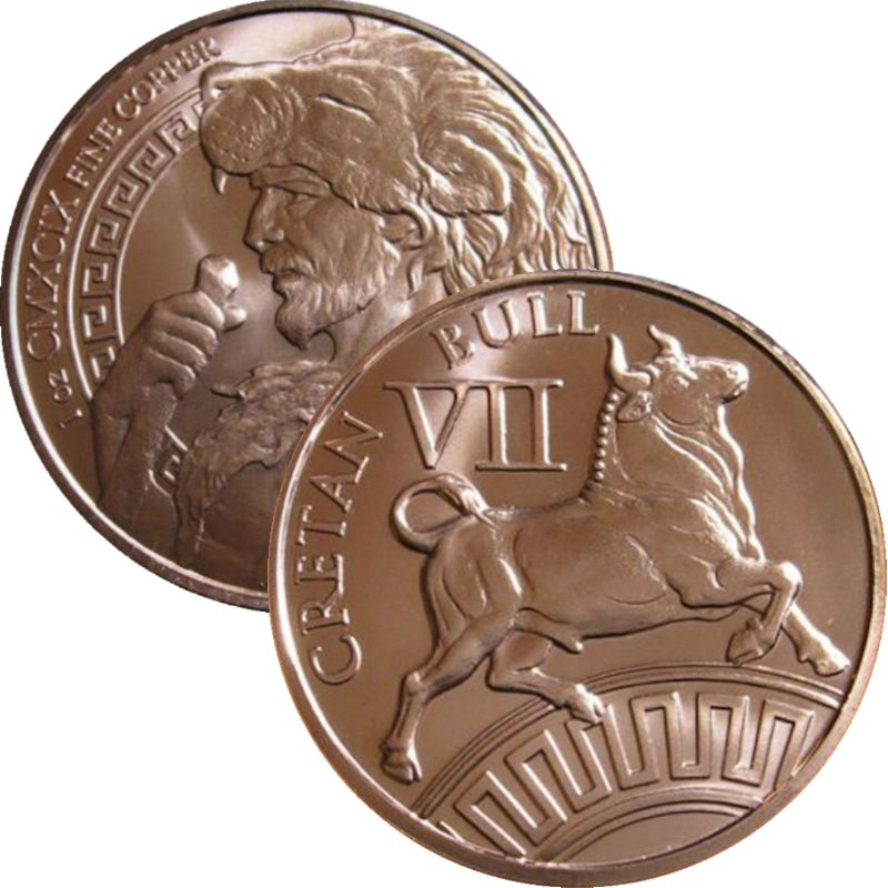 Cretan Bull 1 oz .999 Pure Copper Round (7th Design of the 12 Labors of Hercules Series)