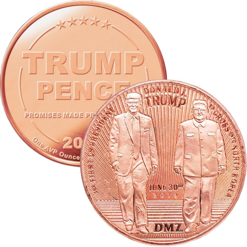 Trump ~ Crossing The DMZ 1 oz .999 Pure Copper Round